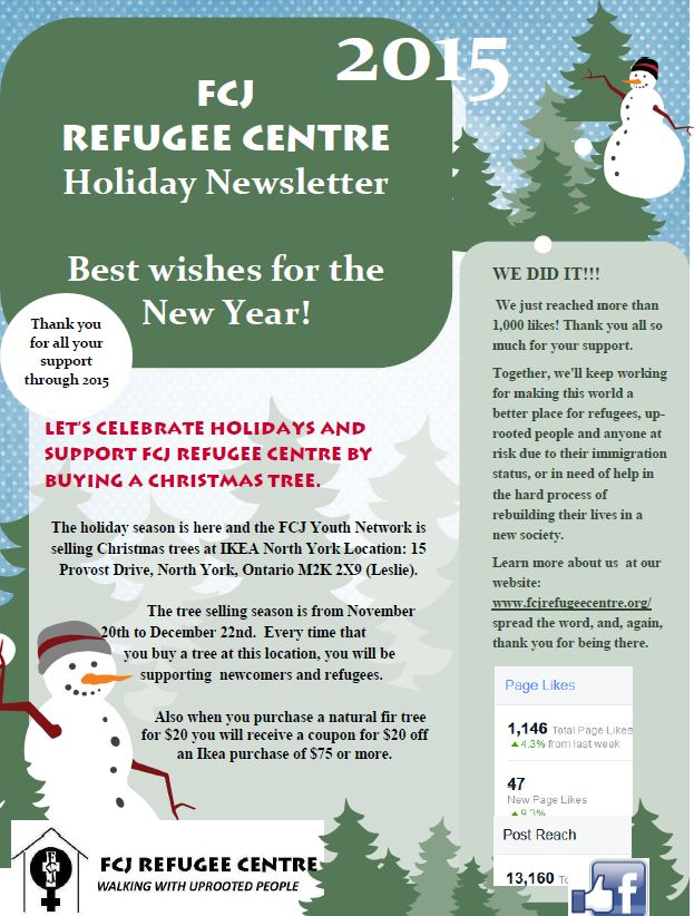 Holiday Newsletter - Fcj Refugee Centre